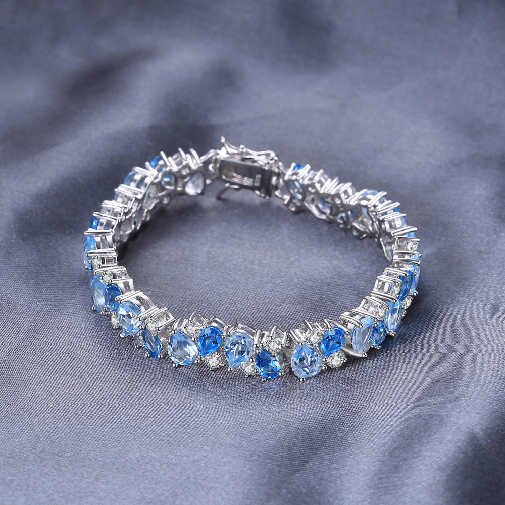 SmykkerPalace Luksus 23ct Multi London Blue Topaz Link Tennis - Smykker - Foto 4