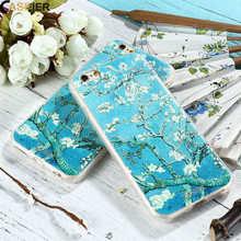 Van Gogh Almond Blossom CASEIER Case For iPhone 7 8 Relief Soft Cover 7Plus 8Plus Art Painting Vintage Couque Shell