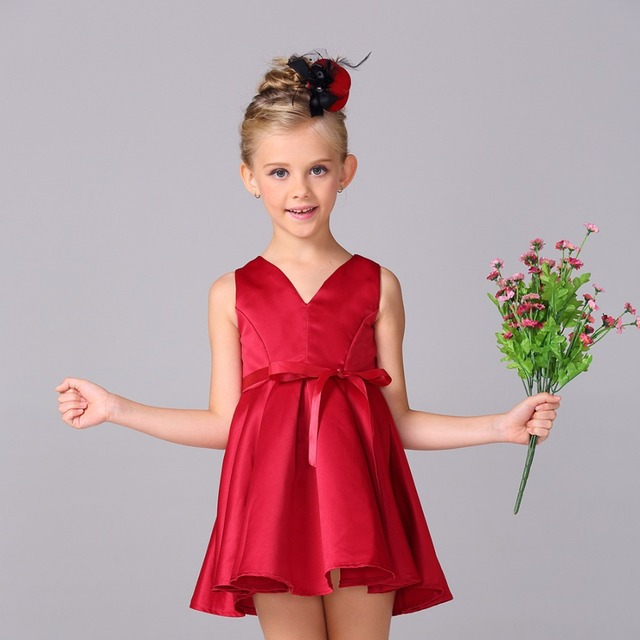 a395b10d3ceb Kid Girl Party Dress Girl Solid Dress With Bow Ribbons Child Red Wedding  Dress L-99