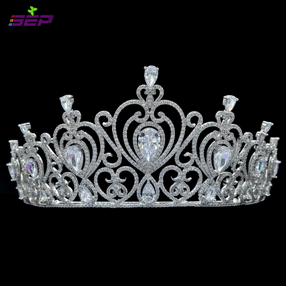 Full AAA CZ Tiaras Crowns Bridal Wedding Hair Accessories Jewelry Birthday Party Crown Headpece TR15083