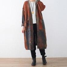 Винтажный женский свитер с v-образным вырезом, модный шерстяной кардиган размера плюс, женский зимний теплый вязаный кардиган с длинным рукавом