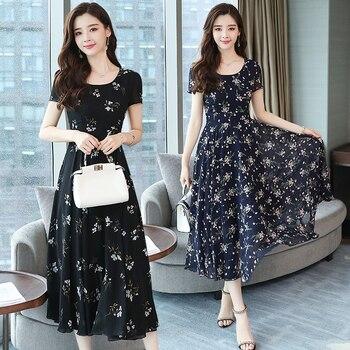 bc9c5f293 3XL Plus tamaño verano Vintage de gasa Floral Midi Vestido Boho 2019  elegante coreano mujeres vestidos de fiesta Chic Casual playa Vestido