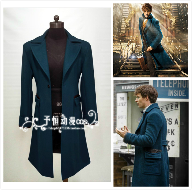 Fantastic Beasts and Where to Find Them Newt Scamander Blue Trench Cosplay Costume custom any size only Wool  coat
