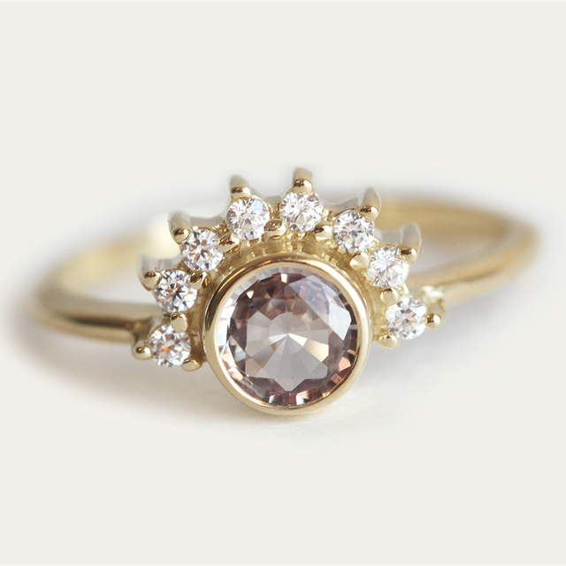 US $680 0 |Simffvn Ring For Women 0 5CT Round Cut Morganite Engagement Ring  18k Solid Gold Sun Ring Wedding Band White Topaz Jewelry Bague-in Rings