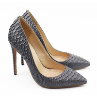 Classic Design Office Celebrity Brand Thin High Heel Pumps Snakeskin Leather Pointed Toe Party Shoes Banquet Bridal Shoes C010B