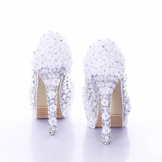 ca3862248e US $89.09 19% OFF|Red Super High Heel Rose Flower Bridal Dress Shoes  Rhinestone Wedding Party Prom Shoes Lady Platform Heels Women High Heel  Shoes-in ...