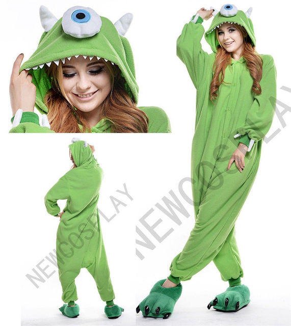 8f42ff1627d5 Mike Wazowski Adult Animal Pajamas Costumes Onesies Jumpsuits Sleepwear  Monocular Cosplay Kigurumi-in Anime Costumes from Novelty   Special Use on  ...