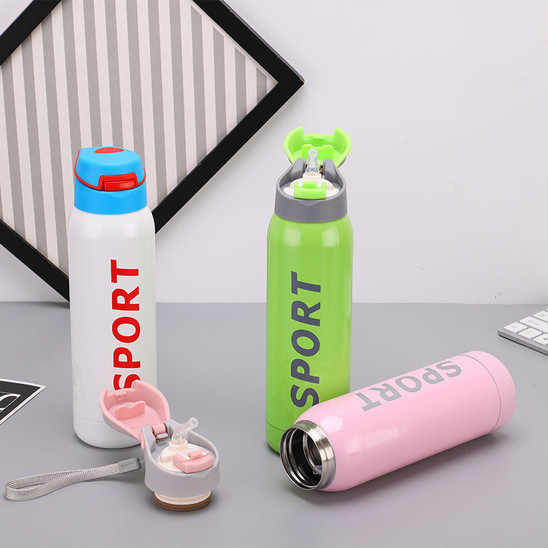 2019 Fashion Gradient color Portable straw rope vacuum flask Insulated sport my water bottle tea thermos cup travel coffee mug Термос