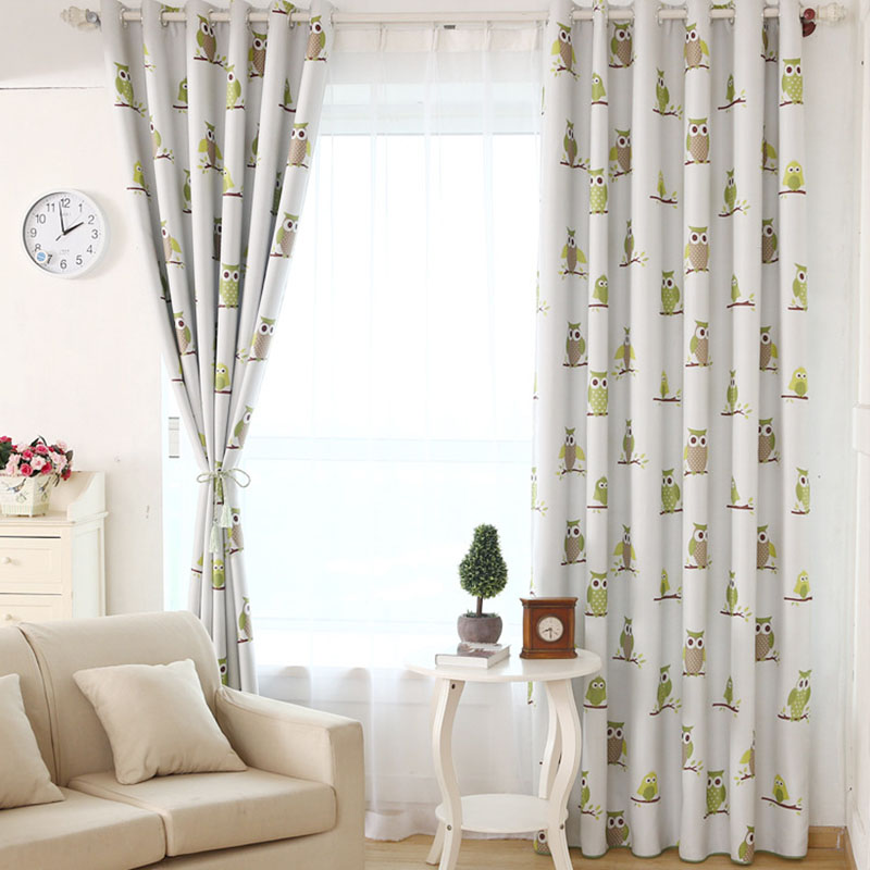 Blackout curtain for children room living room owl for Cortinas black out