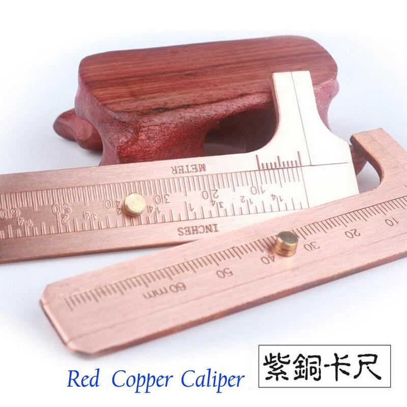 10 pcs/lot Vintage Mini cuivre rouge fait à la main simple/double échelles vernier étrier école cuivre EDC outils à collectionner