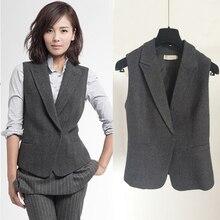 Star Style Women Woolen Suit Vest Office Lady Fashion Gray Wool Suit Vest Female Autumn Spring Waistcoat All Match Outerwear