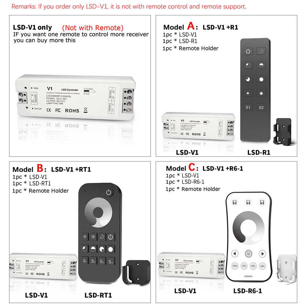 Lisxchda LED Dimmer 12V 5V 24V 36V 36V 8A PWM inalámbrico de RF LED regulador de intensidad en con 2,4G control remoto para cinta de LED de único color de luz