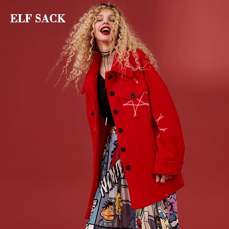 Kadın Giyim'ten Yün ve Karışımları'de ELF ÇUVALı Kış Yeni Kırmızı Ceket Kadın yün paltolar Tam Casual Baskı Kadın Karışımları Palto Turn down Yaka Femme Ceket kadın Mont'da  Grup 1