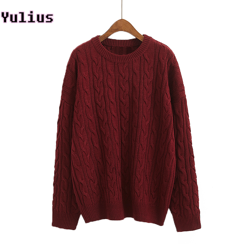 d252b799ff 2018 Autumn Cable Knitted Sweater for Women Burgundy khaki Navy Loose  Lady s Sweater Jumper Casual Twist Knitwear Pullover-in Pullovers from  Women s ...