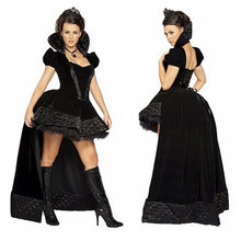 Halloween Carnival Women Black Witch Costume Vampire Costumes Cosplay Fantasia Adulto Clothing Sexy Long Dress for Woman