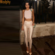 Modphy Hot 2016 New Two Pieces Bandage Stunning Geometic Back Beige Chic Sexy Bodycon Women's sets Dropship Wholesale HL633