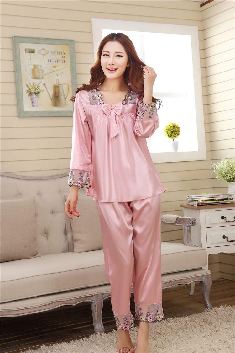 Clever 2019 Neue Simulation Silk Satin Silk Pyjamas Sets Von Sleep & Hosen Erwachsene Nachtwäsche Casual Hause Kleidung Plus Heißer Verkauf Damen-nachtwäsche