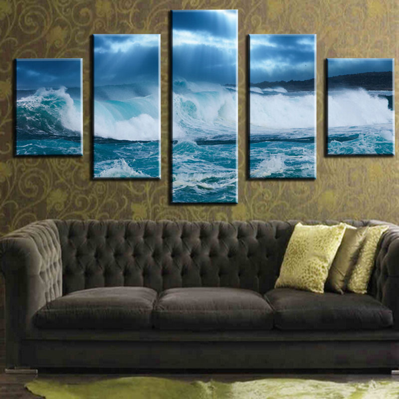 Seascape Artwork Painting Print on Canvas for Wall Decor Abstract Scenic Beach Wall Art 12x16x2pcs