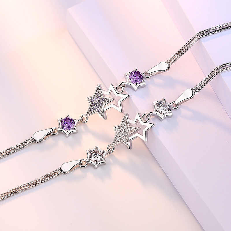 100% 925スターリングシルバーファッションリトルスターシャイニークリスタルladies 'braceletsジュエリーチェーンリンクブレスレットギフトいいえフェード安い