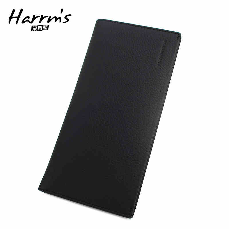 Harrms Brand genuine leather long wallets men and purse  black color for business soft touch clutch male brand double zipper genuine leather men wallets with phone bag vintage long clutch male purses large capacity new men s wallets