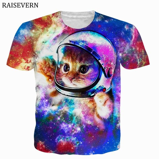 45ba9e81c RAISEVERN T Shirt Men Women Space Galaxy Cat 3D Print Tshirt Camiseta de  hombre Casual Shirts