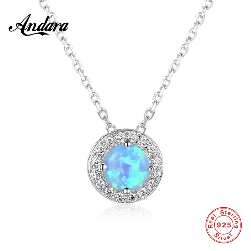 100% Sterling Silver Necklaces Round Blue <font><b>Crystal</b></font> Pendant Necklace Woman Charms Jewelry image