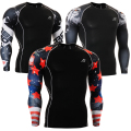 Boys Mens Compression Shirts Base Layer Long Sleeves Sides 3D Prints Thermal Under Top MMA Rashguard Tights Skin Man's T-Shirt