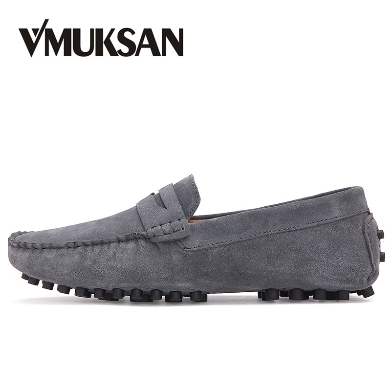 VMUKSAN Hot Sale Men Casual Shoes High Quality Suede Leather Loafers Man Plus Size 38-46 Slip On Moccasins Shoes branded men s penny loafes casual men s full grain leather emboss crocodile boat shoes slip on breathable moccasin driving shoes