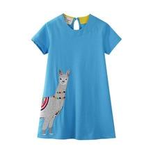 Summer Girls Dress Cartoon Alpaca Printed Dresses Baby Princess for Kids Children Clothes Floral