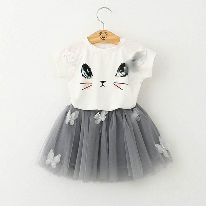 2018 New Suit for Girls Summer Girls Lovely Suit Fashion Cartoon Cat Girls Clothing Sets T-Shirt & Skirt Kids Clothes 2pc Suits