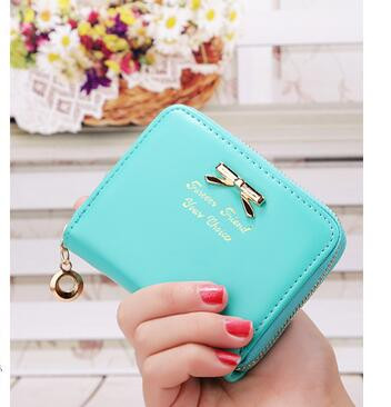 50pcs/lot fedex fast korean style woman candy color bow pu short wallet solid lady lovely mini coin purse