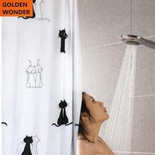 Free shipping 2014 New Arrival Black Cat Animal Lovely Shower Curtains Polyester Fabric Waterproof Bath Curtain Simple Modern