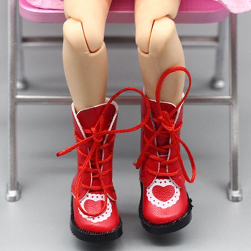 Bottes de poupée en cuir PU coeur exquis à la main pour chaussures de poupée Blythe 1/6 poupée