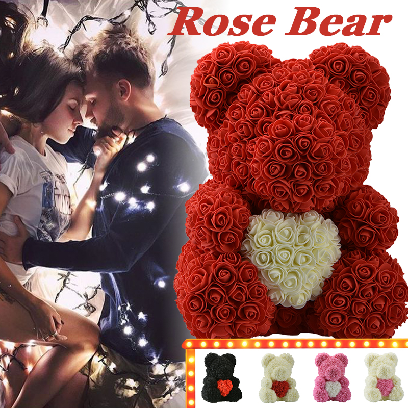 WR 2019 Red Rose Bear With Heart Wedding Home Decoration Valentines Day Love Gift For