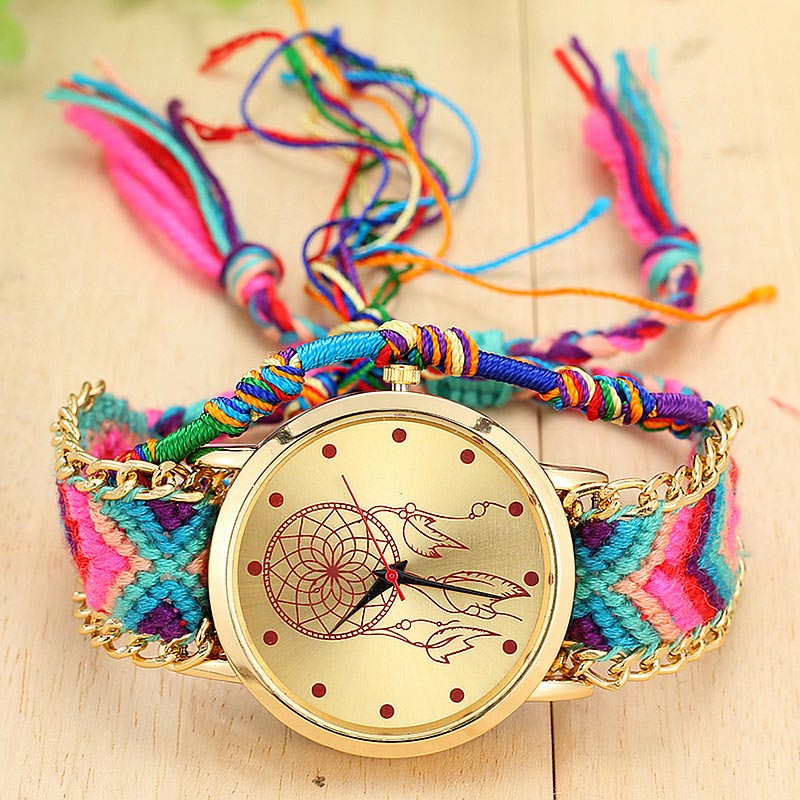 Vintage Women Ethnic Handmade Braided Quartz Watch Knitted Dreamcatcher Wristwatch Gifts @17 TT@88
