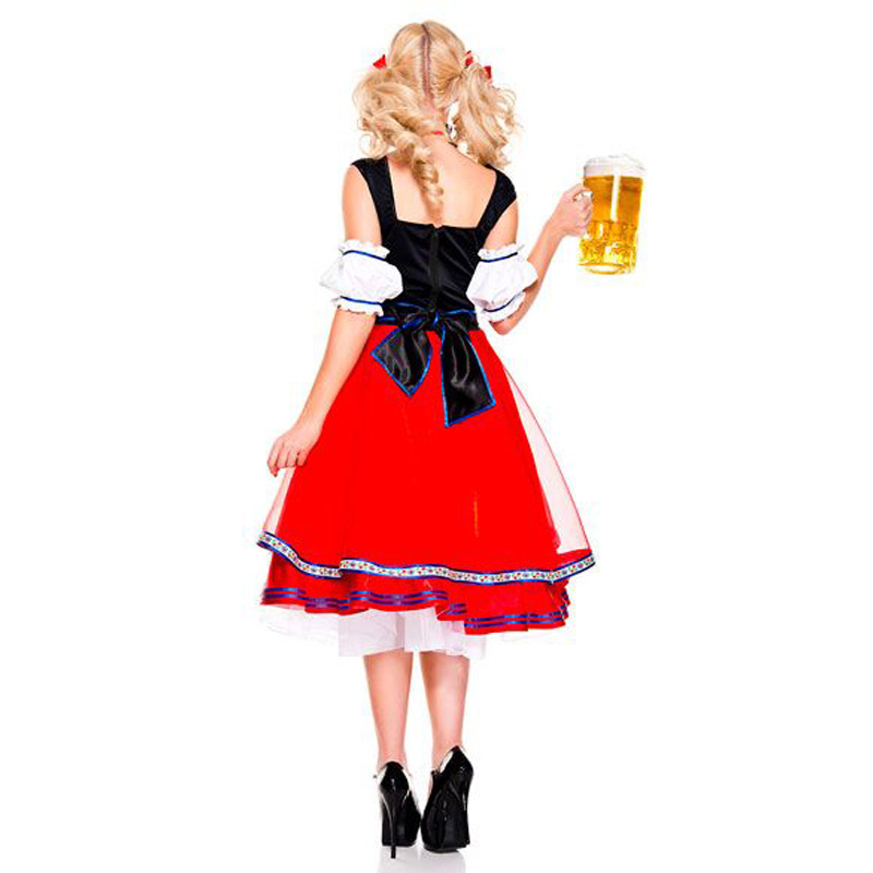 MOONIGHT Womens Traditional German Bavarian Beer Girl Costume Sexy Oktoberfest Festival Carnival Party Fancy Dress 1