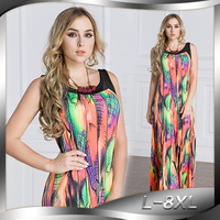 2018 Women Summer Dress O Neck Sleeveless Bohemian Plus Size 8XL Long Maxi Beach Dress For