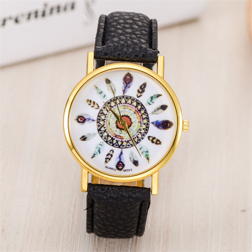 Hot Sale Women Watch Dream Catcher Printed Dial Clock Analog Quartz Watch PU Leather Bracelet Watches