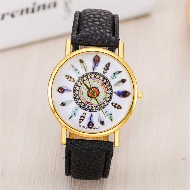 Hot Sale Women Watch Dream Catcher Printed Dial Clock Analog Quartz Watch PU Lea