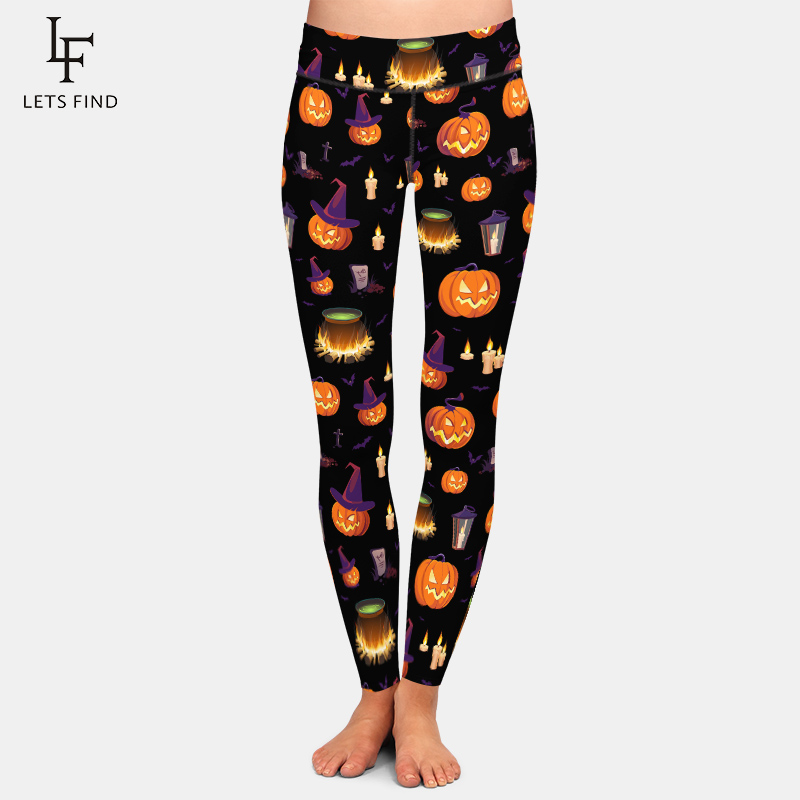 LETSFIND Fashion 3D Halloween Pumpkin Digital Print Leggings Women High Waist Plus Size Pants Fitness Stretch Leggings 1