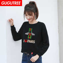 GUGUTREE embroidery Sequins big tiger bee patches animal badges applique for clothing XC-76