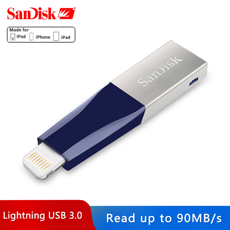 Sandisk USB Flash Drive <font><b>32GB</b></font> 64GB Für <font><b>iPhone</b></font> X7 7 Plus <font><b>6</b></font> 5 5S Blitz zu Metall pen Drive U Disk für IOS 8.2 memory stick 128GB image