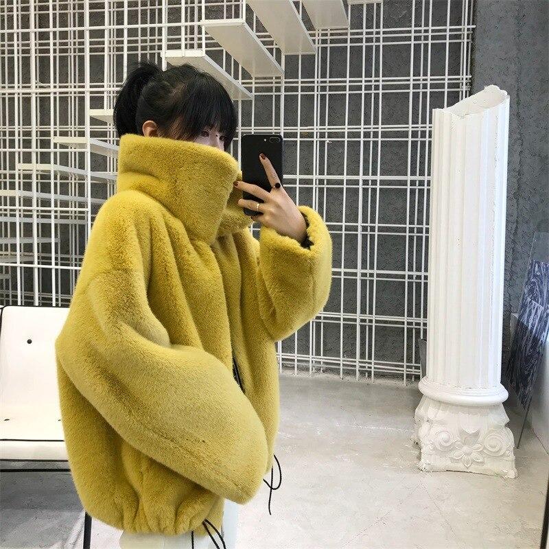Модное Брендовое Пышное пальто из искусственного меха с большим воротником, Женский утепленный жилет из лисьего меха, пальто на молнии с завязками wq861