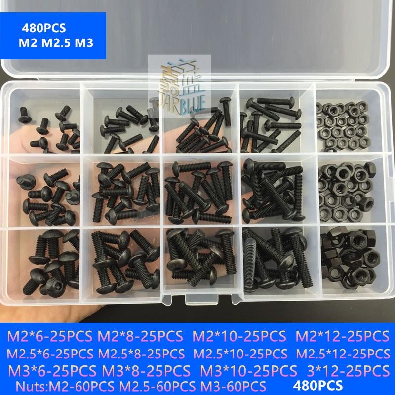 440 pcs M3 M4 M5 Boulons /à t/ête plate /à six pans creux et /écrous hexagonaux pour kit dassortiment de fixations de machine