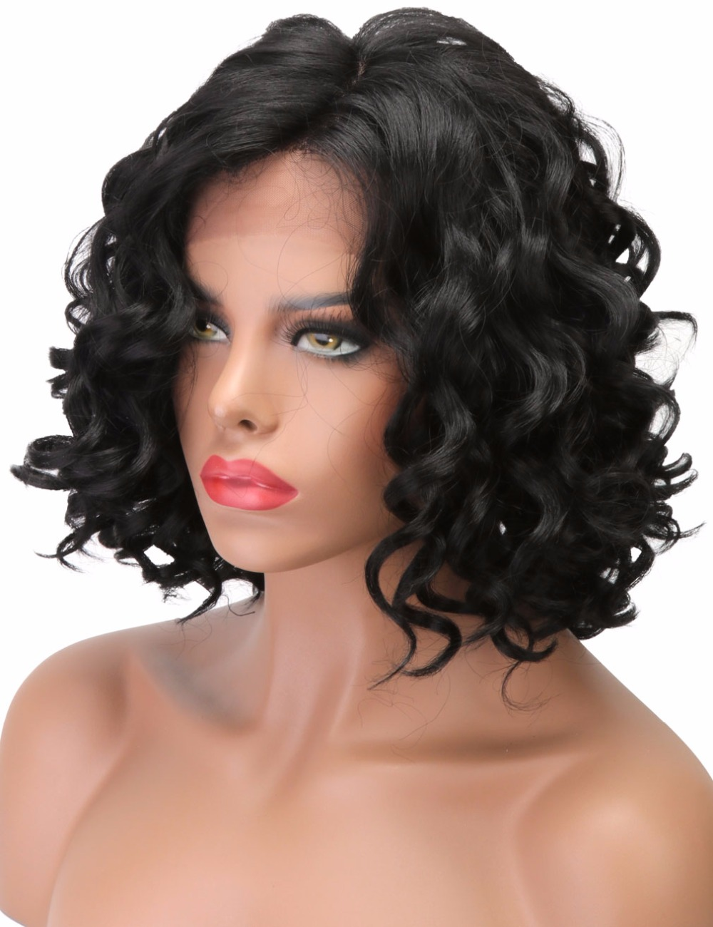 COLODO Natural Hair Lace Front Wigs for Black Women Glueless Synthetic Hair Body Wave Short Cut Wigs