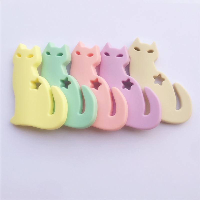 2PCS BPA Free Silicone Cats Lovely Baby Toy Teething Chewable Pendant Nursing Necklace Baby Pacifier Dummy Toy Gfit Teether