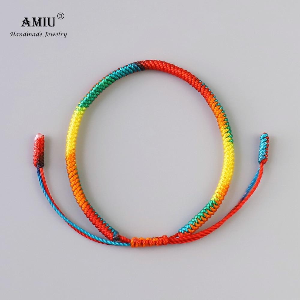 AMIU Tibetan Buddhist Lucky Charm Tibetan Bracelets & Bangles For Women Men Handmade Knots Gradient Color Rope Gift Bracelet