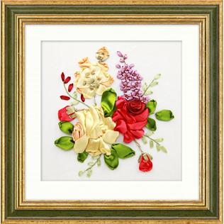 Piwonia wstążka z kwiatem zestaw do haftowania wiele obrazów satynowy zestaw malarski rzemieślnicze DIY handmade szycie sztuka dekoracje ścienne 7 wzorów tanie i dobre opinie Europa Obrazy Składane Zwykły haft krzyżykowy haft Bawełna PAPER BAG Floral