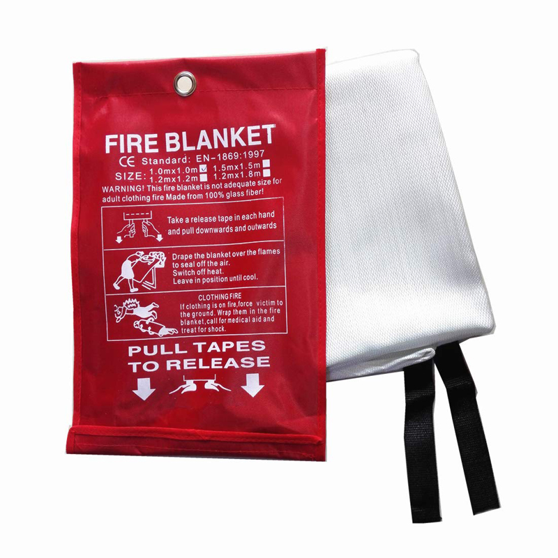1mx1m Fire Blanket Fiberglass Fire Flame Retardent Emergency Surival Fire Shelter Safety Cover for Home Kitchen,Car or Camping