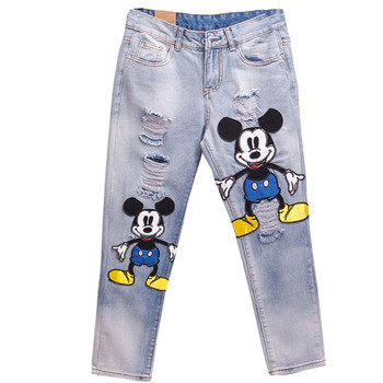 Cartoon Fashion Sexy Slim Women Prints Patchwork Supper Jeans Casual Denim Pants Trousers  Hole Vintage Girls Ripped Jeans 345 denim